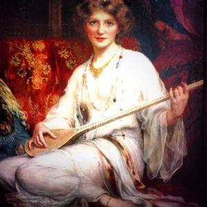 """"""" La joueuse de Saz """" Wontner ( 1857-1930)"""